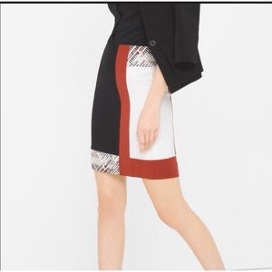 WHBM Colorblock Embroidered Pencil Skirt